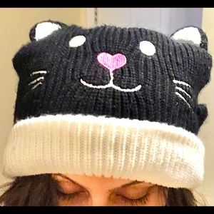 Hot Topic 2003 Emo Cat Ribbed Beanie
